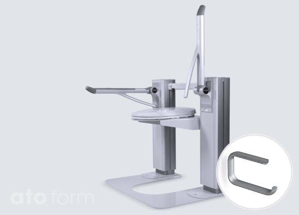 Liftolet mit Bodenplatte (Zubehör) und optional erhältlichen Pressalit-Stützklappgriffen