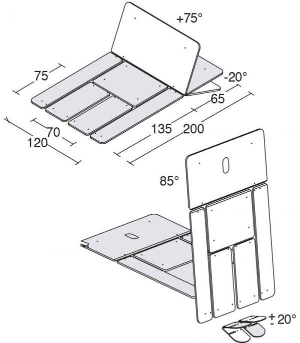 Bobath S Tilt 2 ET - Technische Zeichnung