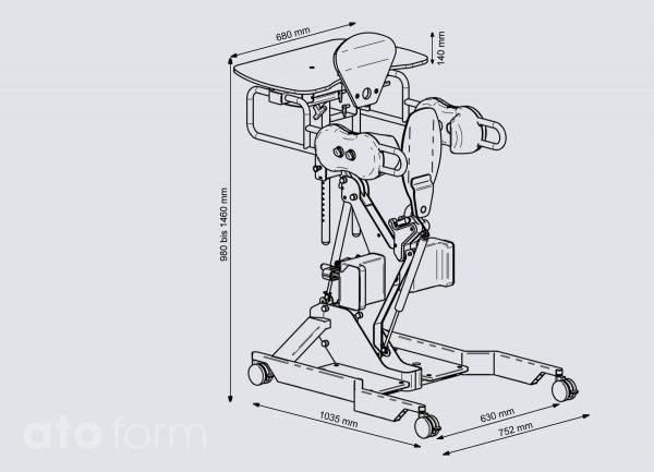 Stand Up mit langer Sitzplatte - Technische Daten