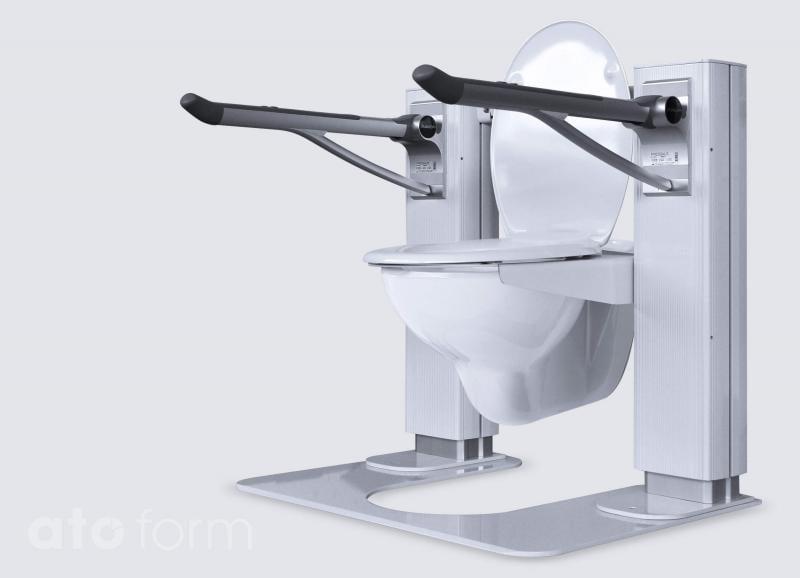 Liftolet mit Bodenplatte und optional erhältlichen Pressalit® Armstützen