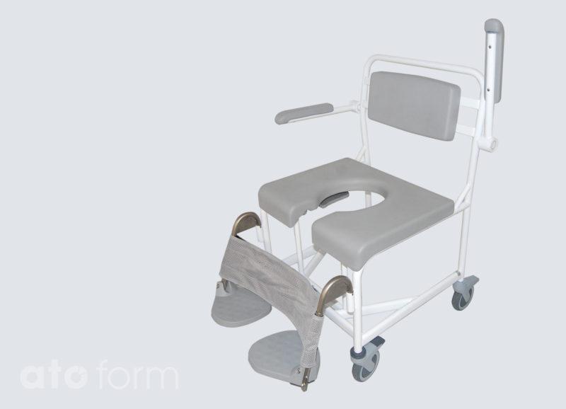 Dusch- und Toilettenstuhl M2 Basic 200 kg, Sitzplatte mit Intimausschnitt