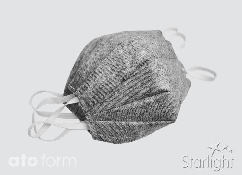 Face mask fleece grey mix with three tucks