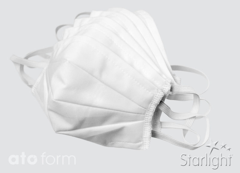Face mask cotton white with three tucks