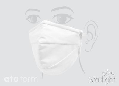 Mund-Nasen-Maske Baumwolle weiß, 2 Abnäher
