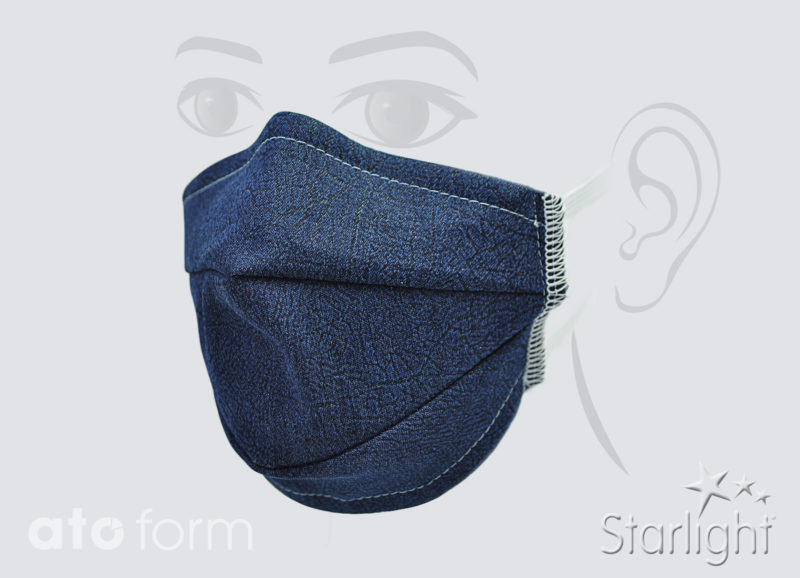 Face mask denim blue with two tucks