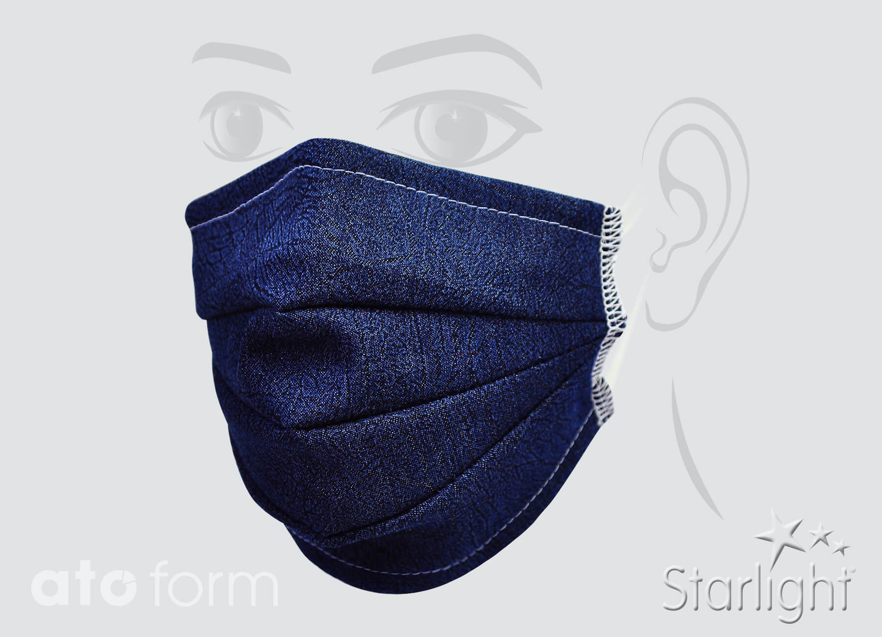 Face mask denim blue with three tucks
