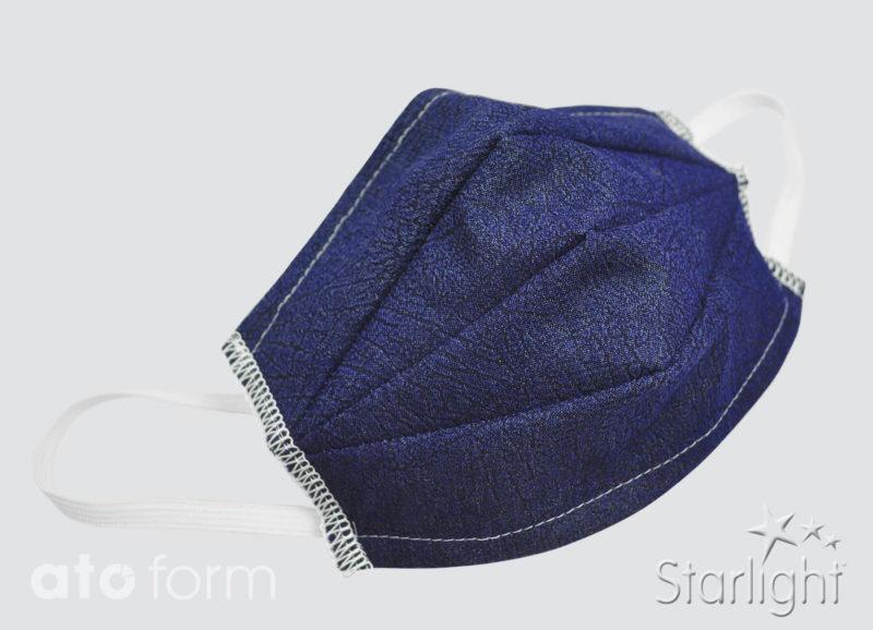 Mund-Nasen-Maske Jeans blau mit drei Abnähern