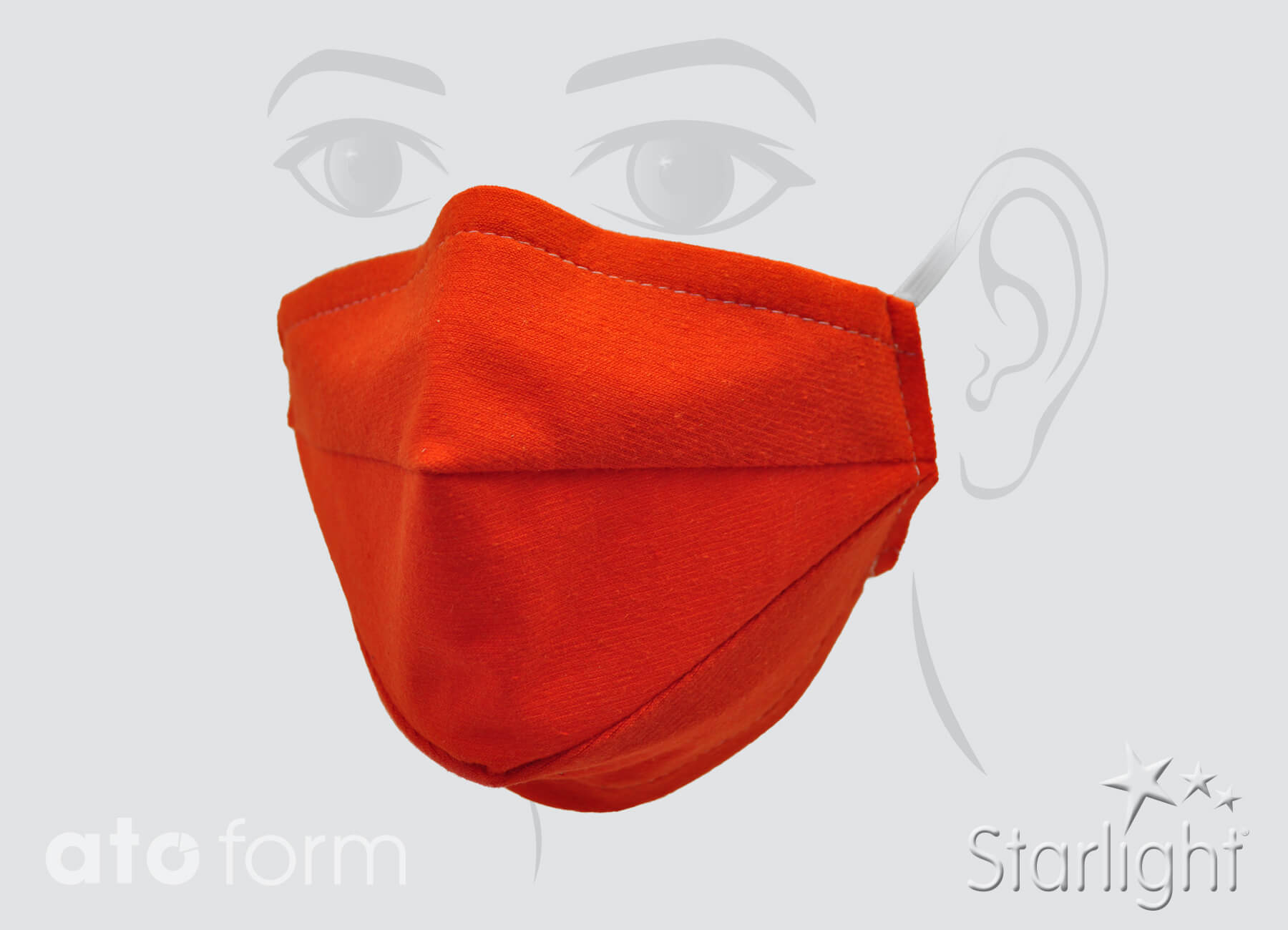 Face mask cotton mix, orange with two tucks